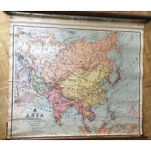 Antique Nystrom / Johnston Asia Pull Down Map  circa 1909-1912