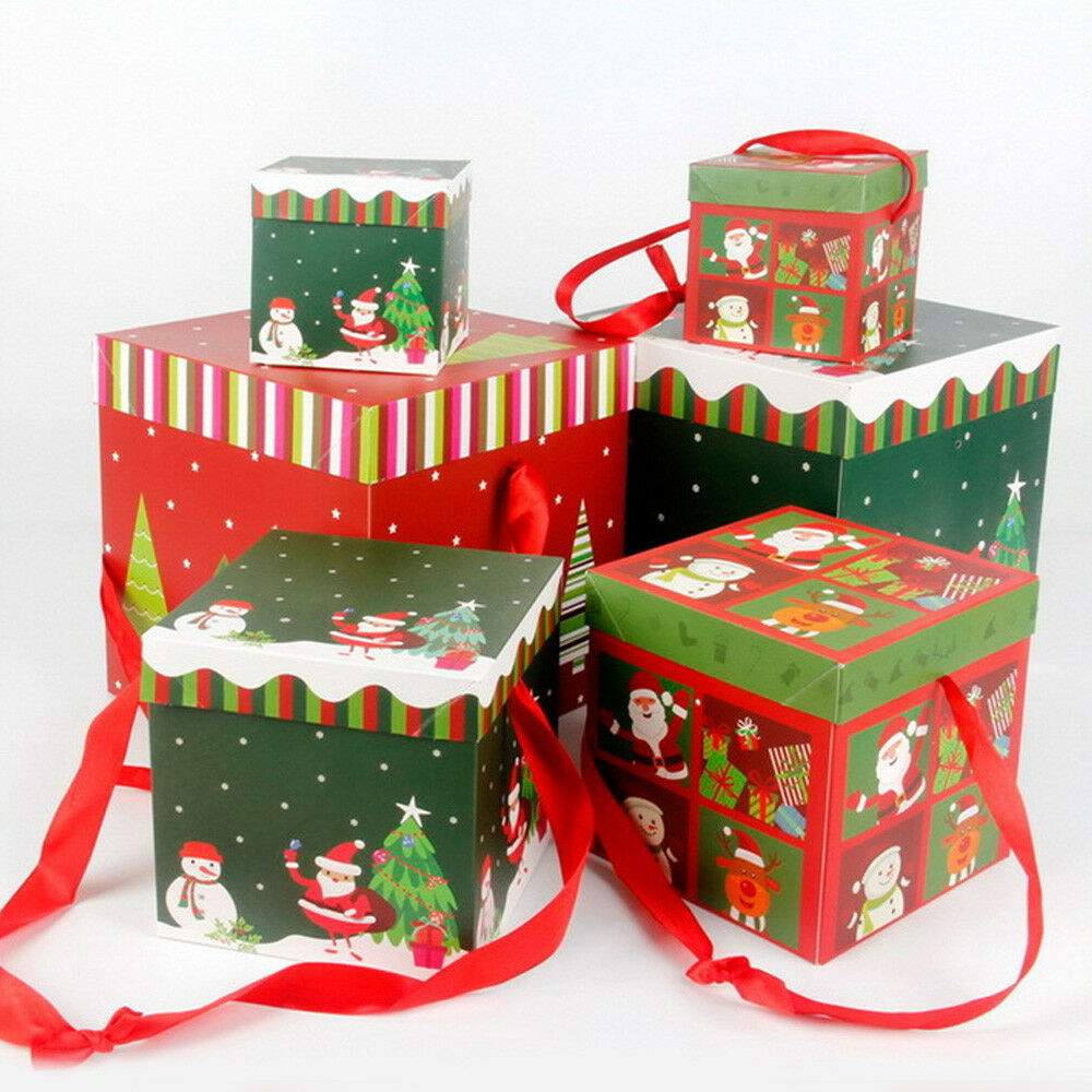 Large Premium Christmas Eve Gift Boxes Lids Ribbon Decor Xmas
