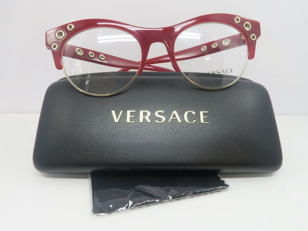 bb8693226d Details about Versace Women s Red Gold Glasses with Case MOD 3232 5197 52mm