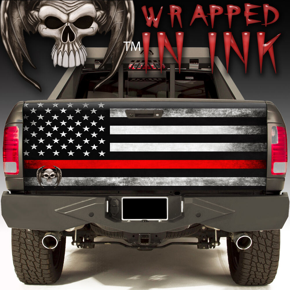 Details about red line tailgate wrap fallen fire fighter truck graphics american flag subdued