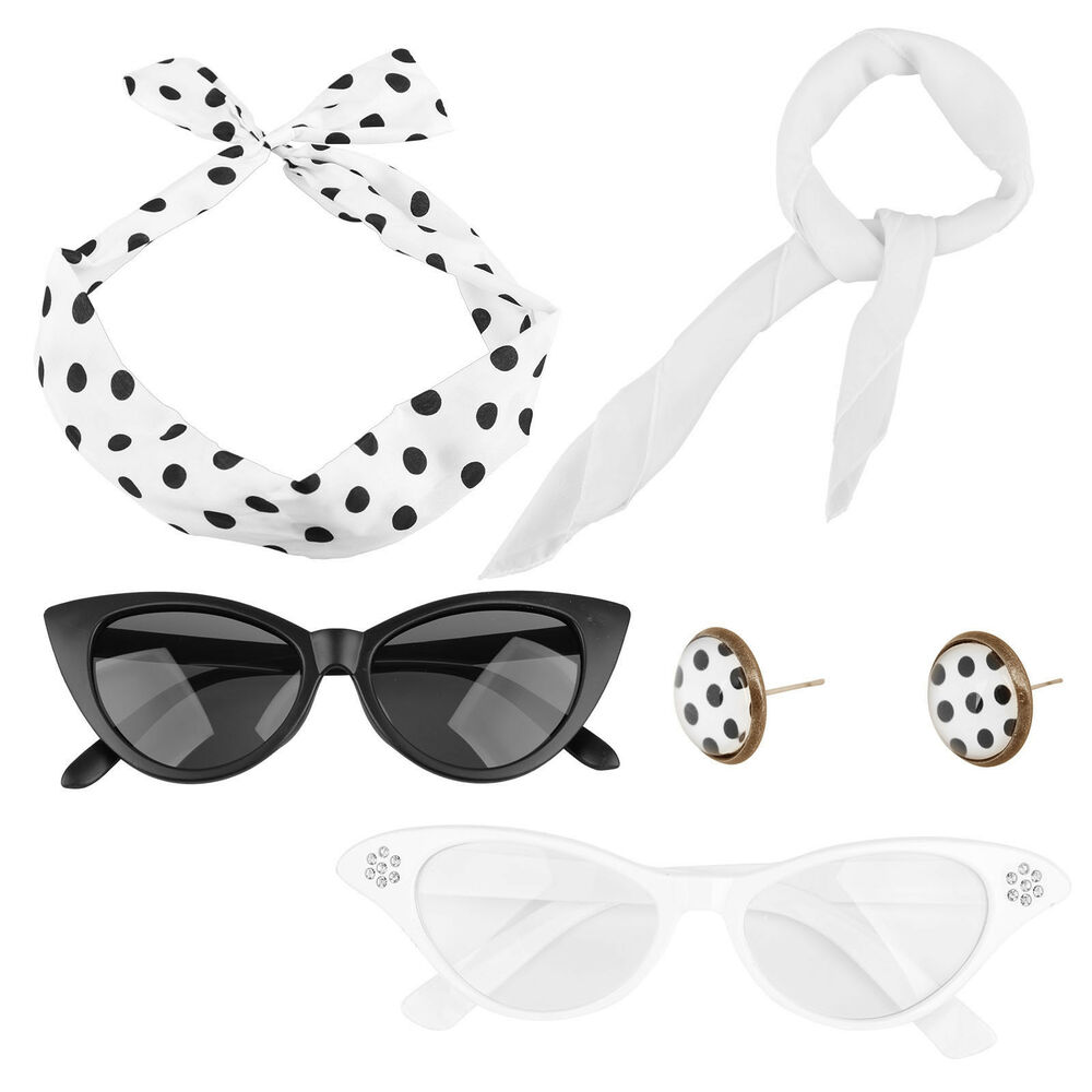 361e008c281 Halloween Vintage 80 s Costume Set Women Glasses Headband Scarf Earring Set