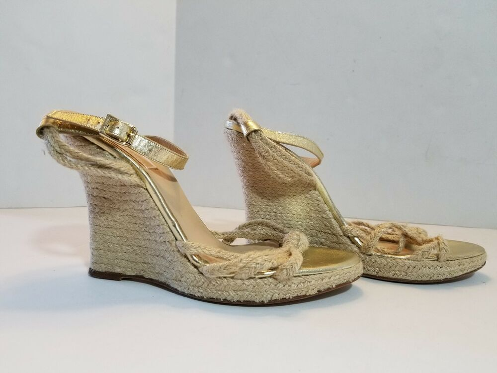 6a838ff5e10b8 Details about MICHAEL KORS Espadrille Wedge SANDALS Womens size 11 M Gold  Leather HEELS Shoes
