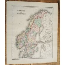 Antique Colored MAP - SWEDEN AND NORWAY - The National Atlas 1893