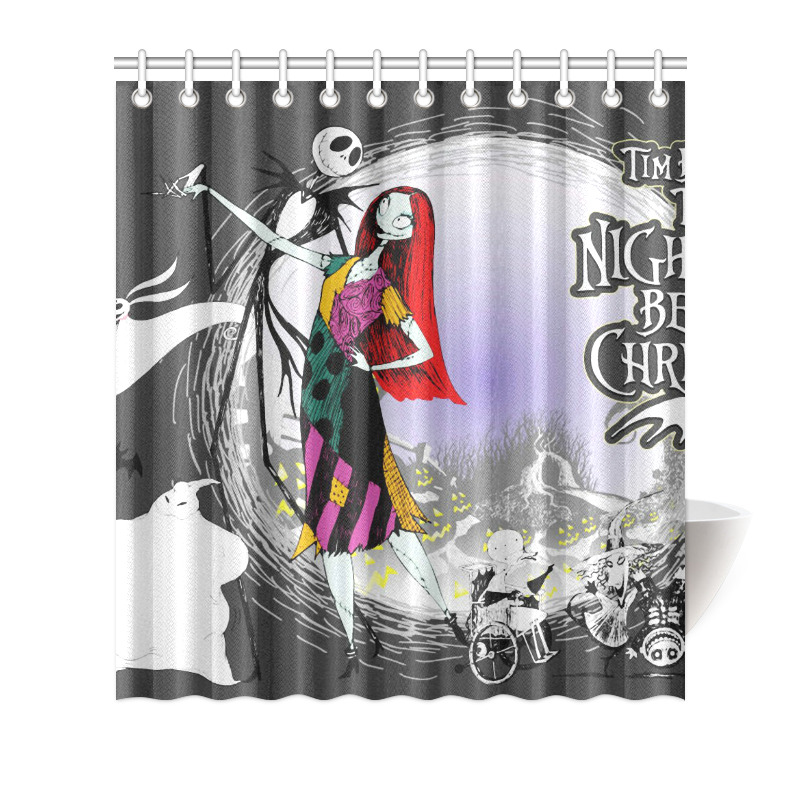 Details About Bath Decor Curtain The Nightmare Before Christmas Shower 66x72