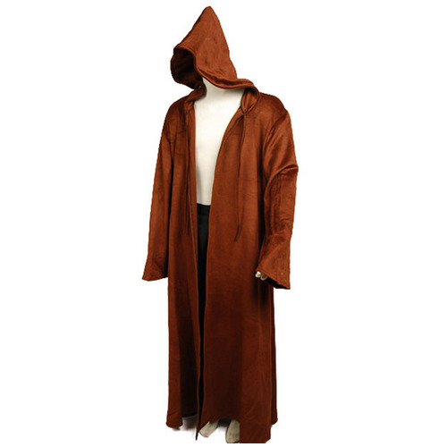 a6b7a65f3f Details about Star Wars Brown Sith Jedi Robe Wool Cloak obi wan Kenobi  Hooded Cosplay Costume
