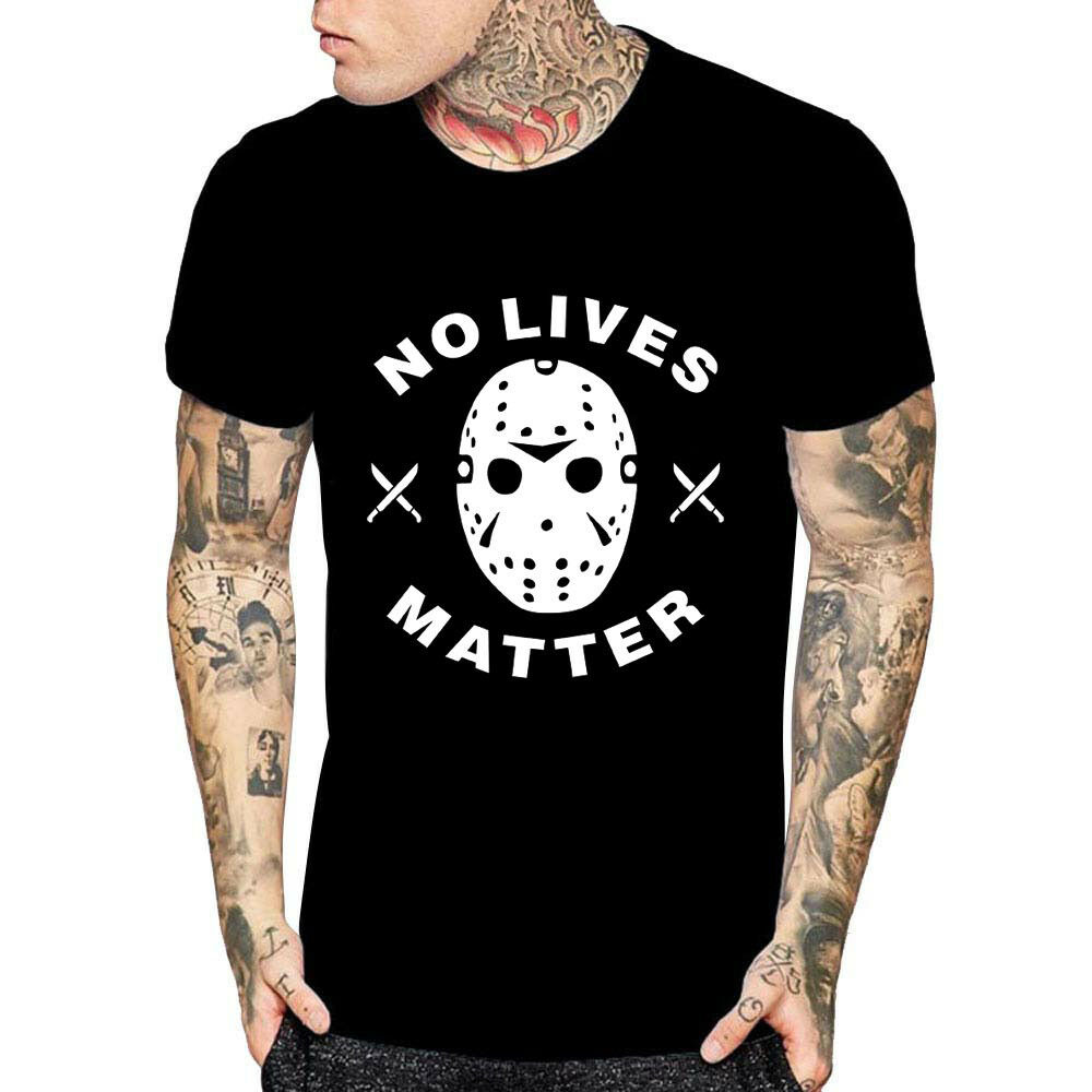 94e19951f9d Details about No Lives Matter Halloween T Shirt Friday The 13th Horror  Movie Scary Tees