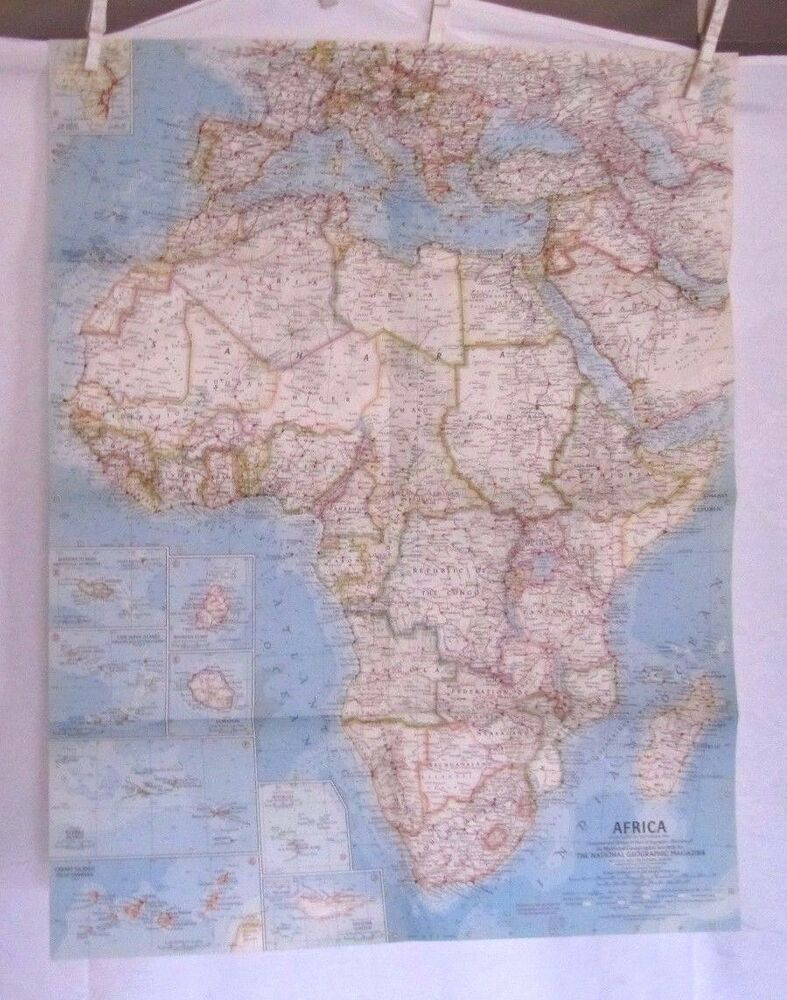 1960 National Geographic Map Africa 19 X 24 1 2 Inches Ebay