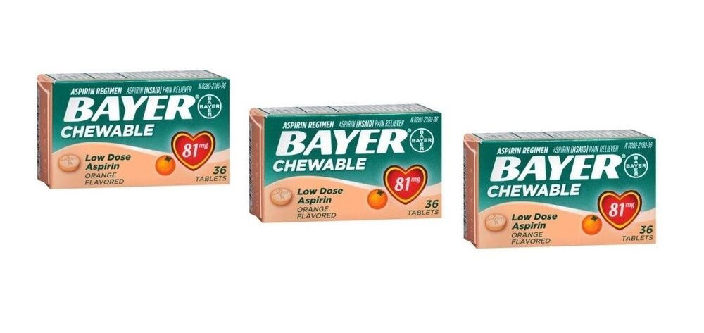 Pack Of 3 Bayer Chewable Low Dose Baby Aspirin 81mg
