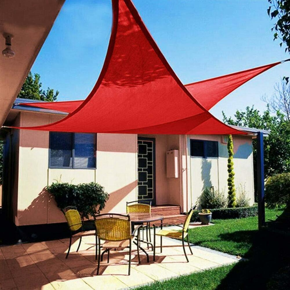 Details About 12 X Triangle Sun Shade Sail Outdoor Garden Canopy Patio Pool Red