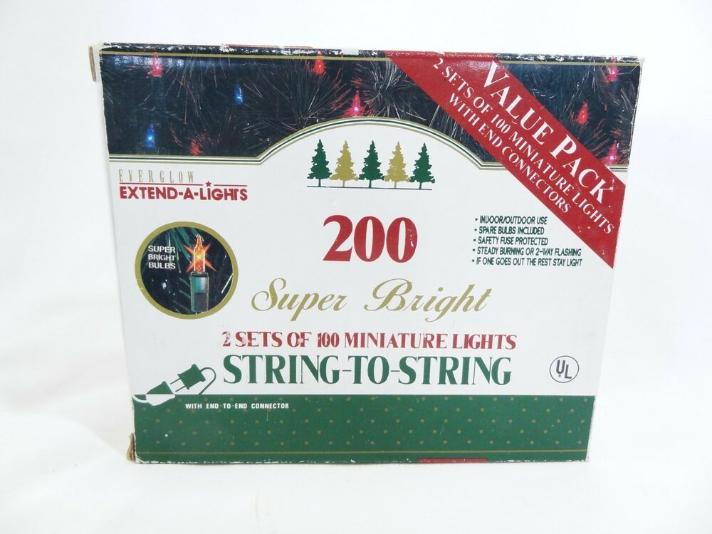 Details About Everglow Super Bright Miniature Clear Christmas Lights 200 Ct 2 X 100