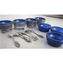 WESTMORELAND 7 COBALT BLUE GLASS OPEN SALTS 4 SILVER SILVER STANDS, 6 SPOONS,