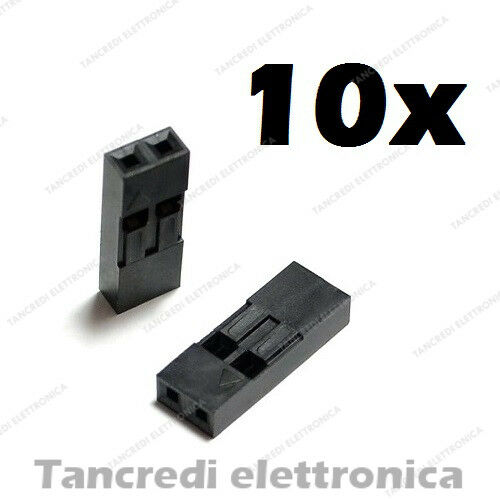 10x connettore dupont 2 pin via poli contatto femmina maschio connectors header