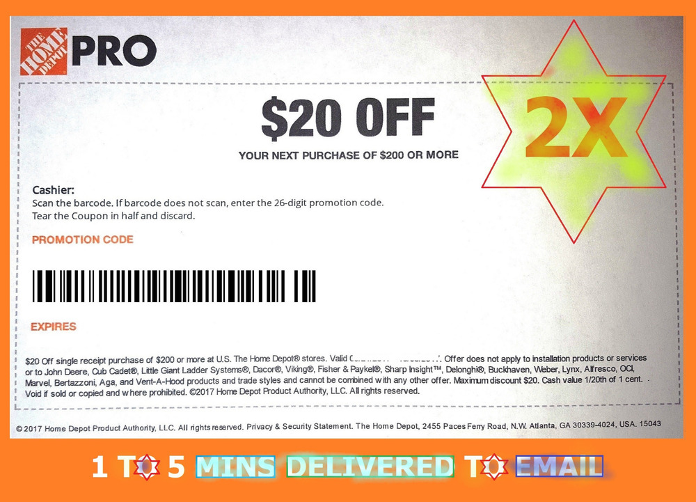 2x Tw0 Home Depot Coupon 20 Off 200 In Only Fastest Deiivered Ebay