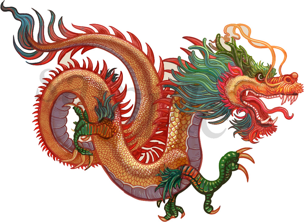 Chinese Dragon: Unique Chinese Dragon Iron On Transfer A5 5.8 X 8.3 In