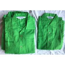 Lot of 10 Vintage 1960s 1970s Men's Green Short Sleeve Poly Cotton M Shirts NOS