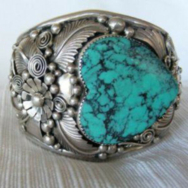 Heart Cut Natural Turquoise Gemstone Wedding Engagement Wing Jewelry Size 6-10