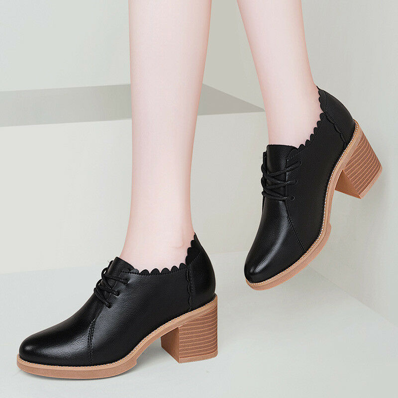 62fdd3c32b1 Details about 34-41 Women s Chunky Heel Oxford Shoes Lace Up Derbys Bootie  School Girls