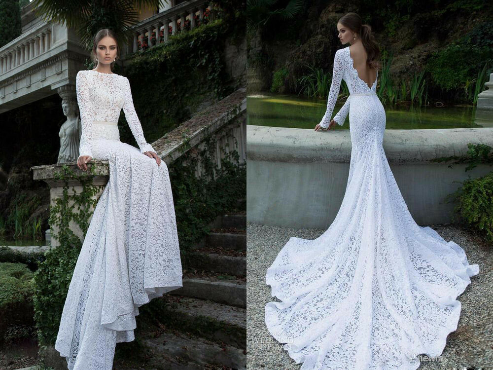 Mermaid Wedding Gowns With Sleeves: White Ivory Wedding Dresses Bridal Ball Gowns Lace Long