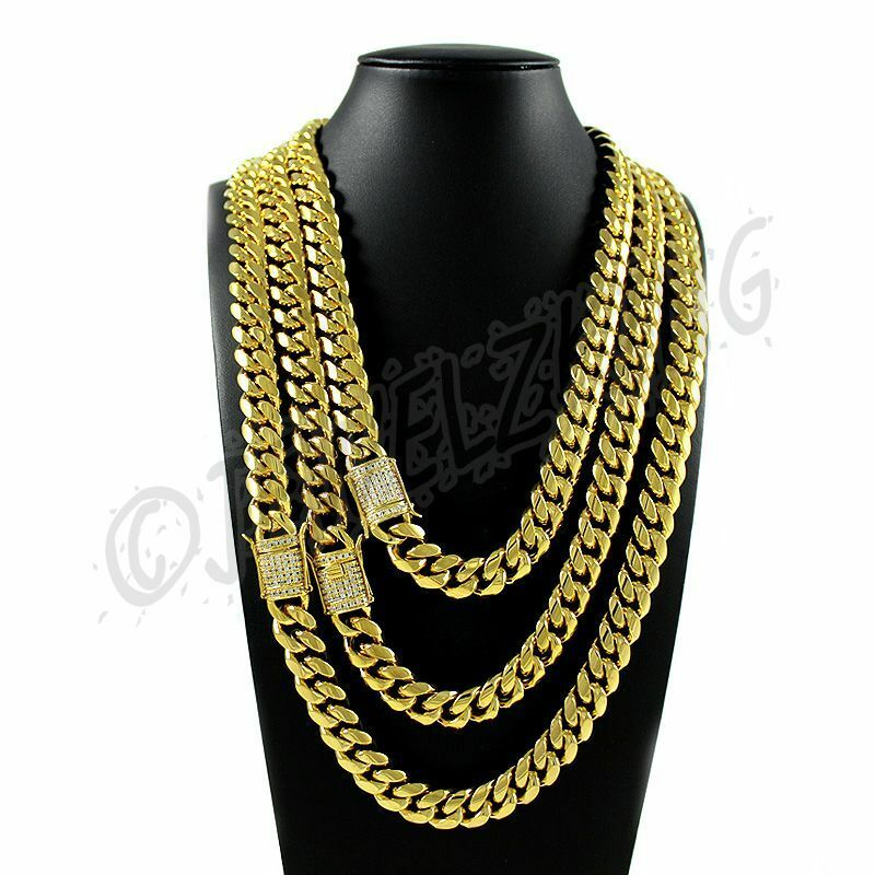Details about Miami Cuban Link Chain 12mm Stainless Steel 14K Gold Plated  W 1ct Diamond Clasp c7a0254855d7