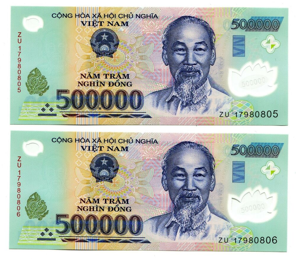 Details About 1 Million Vietnam Dong Currency 2x 500000 500 000 Banknote Uncirculated