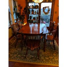 Moosehead solid maple dining set with 6 brace back chairs