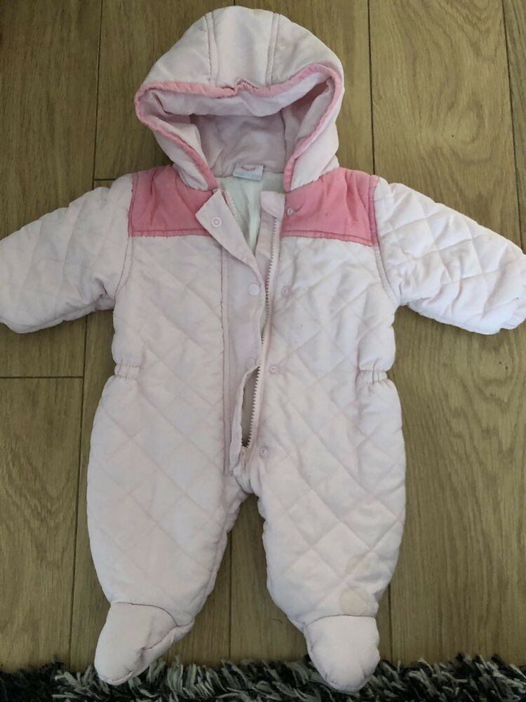 5b2add006 Details about Baby Girls Rock A Bye Baby 0-3 Months Pink Padded Designer  Snowsuit .