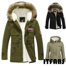 New Men Winter Warm Thick Fur Collar Hooded Fleece Lined Outerwear Jacket Coat