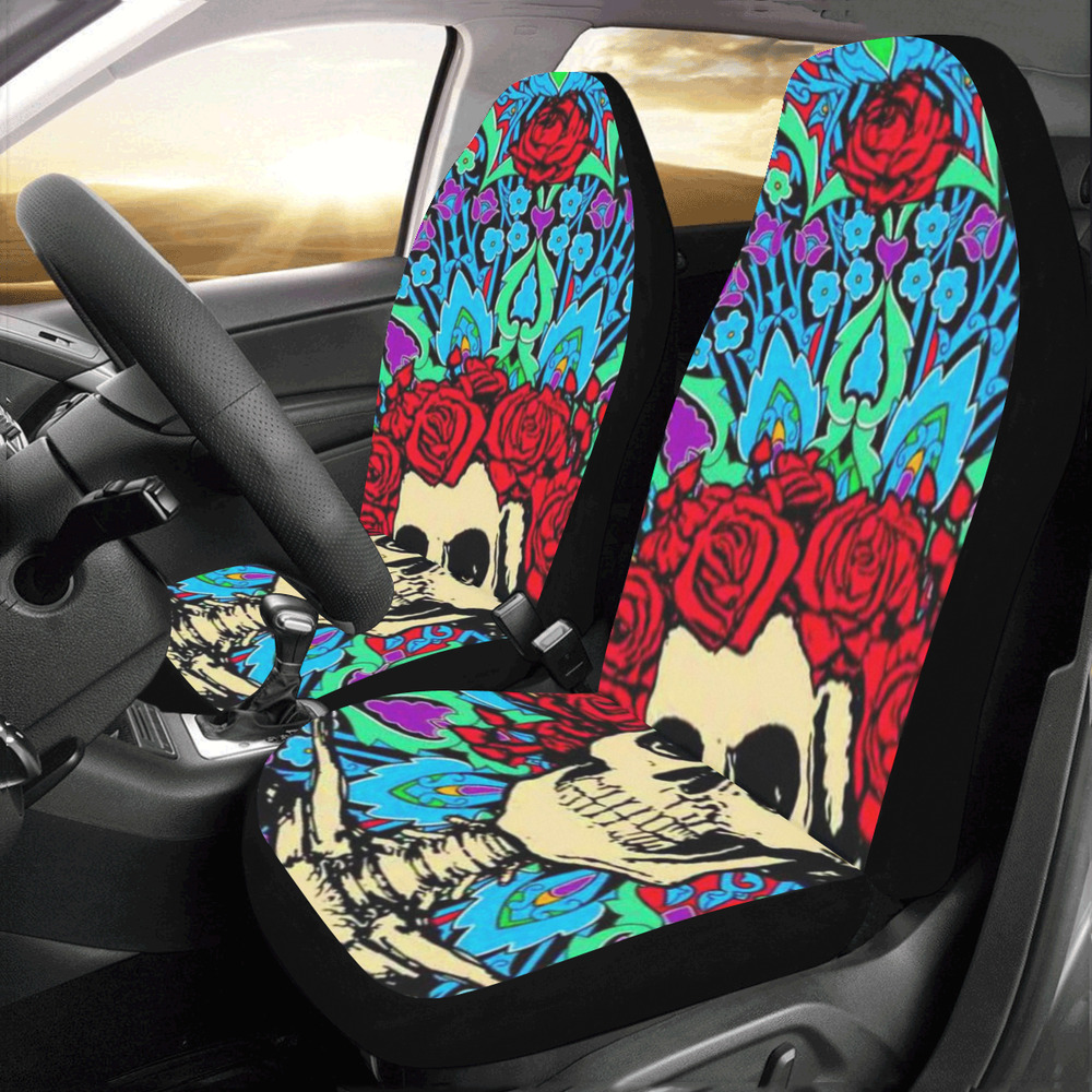 Grateful Dead Compatible Universal Fit Car Seat Cover Set Of 2