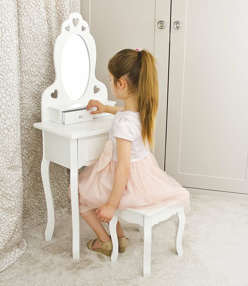 Girls Vanity Dressing Table With Stool And Mirror 3 7 Years Ebay