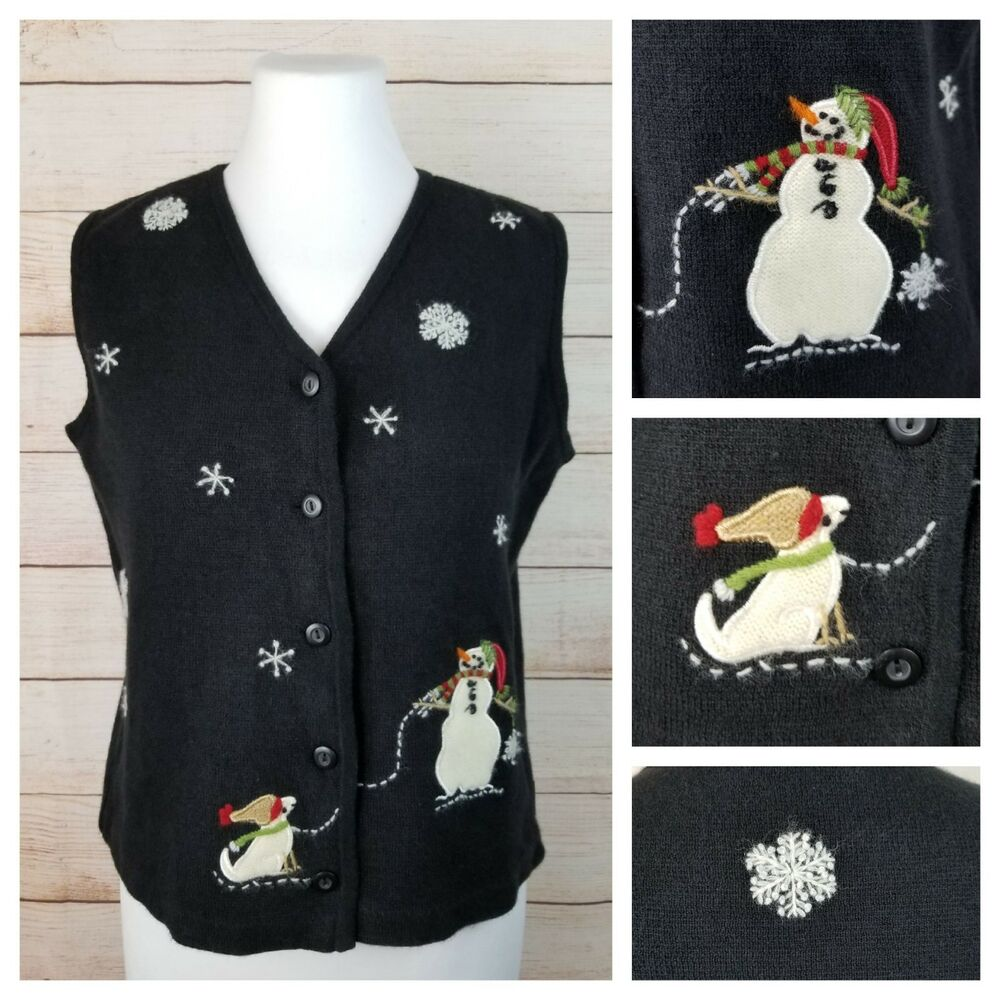 0ce1510c33 Details about Woolrich Small Holiday Ugly Cute Christmas Snowman Snowflakes Black  Sweater Vest
