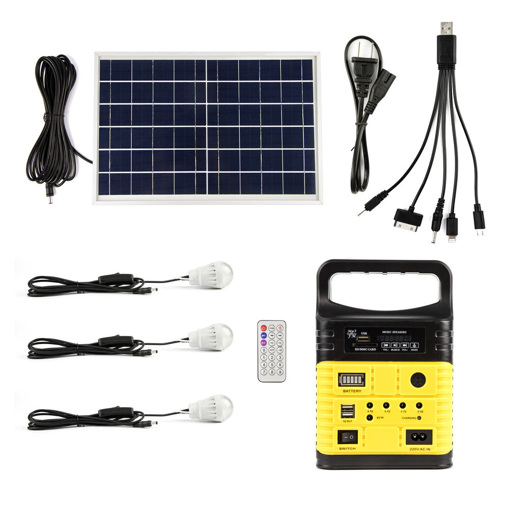 Solar Panel Battery Bank >> 6v 6w Solar Panel Lighting Kit Solar Charger Generator Power