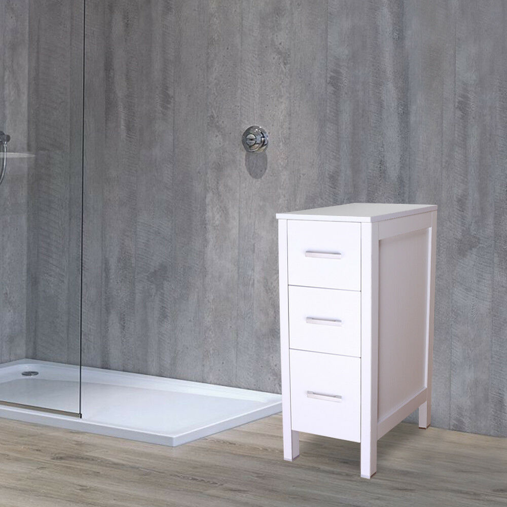 12 Quot White Bathroom Vanity 3 Drawers Small Beside Cabinet