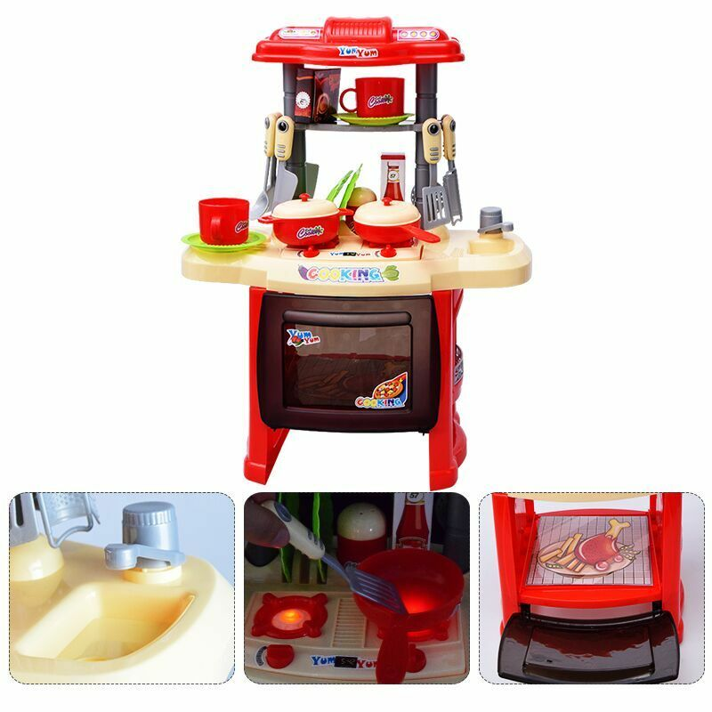 Details About Kids Children S Red Kitchen Play Set Cooking Toddler Infant Baby Toy Gift Xmas