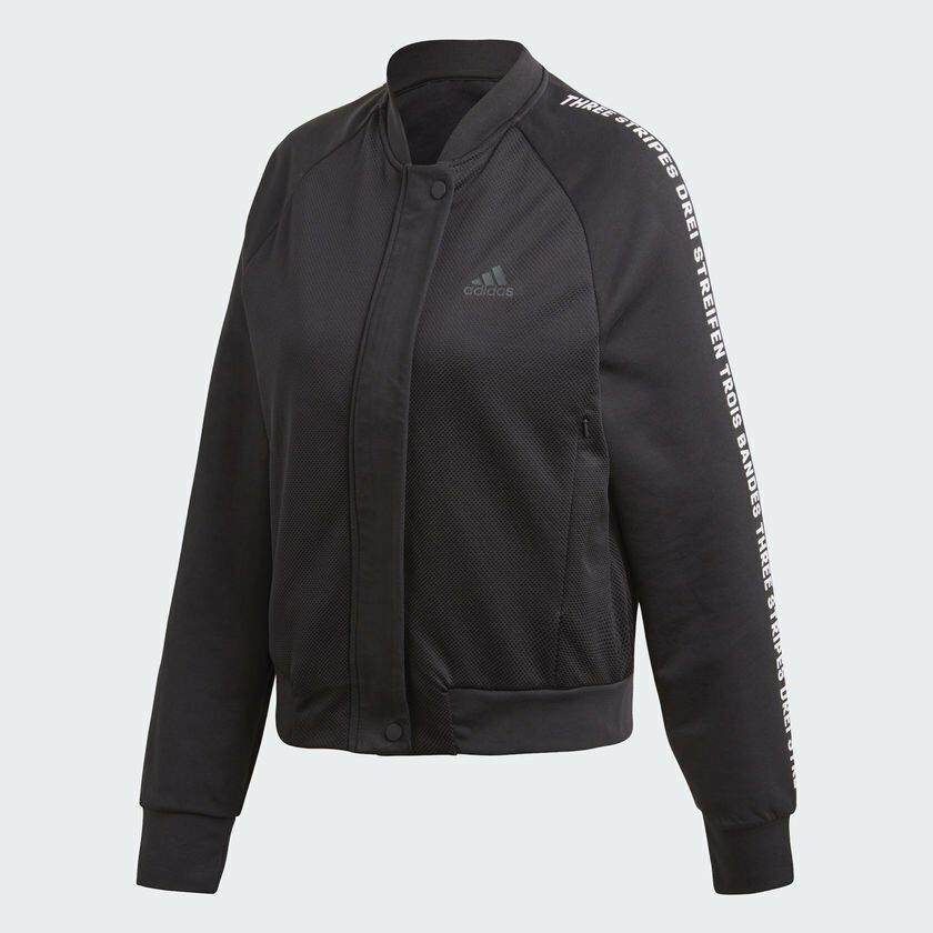 cca2556dbcc8 Details about Women s Adidas Athletics Bomber Jacket Black  z  DX0441