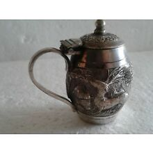 ANTIQUE INDIAN STERLING SILVER  KUTCH  HIGH RELIEF MUSTARD POT LUCKNOW