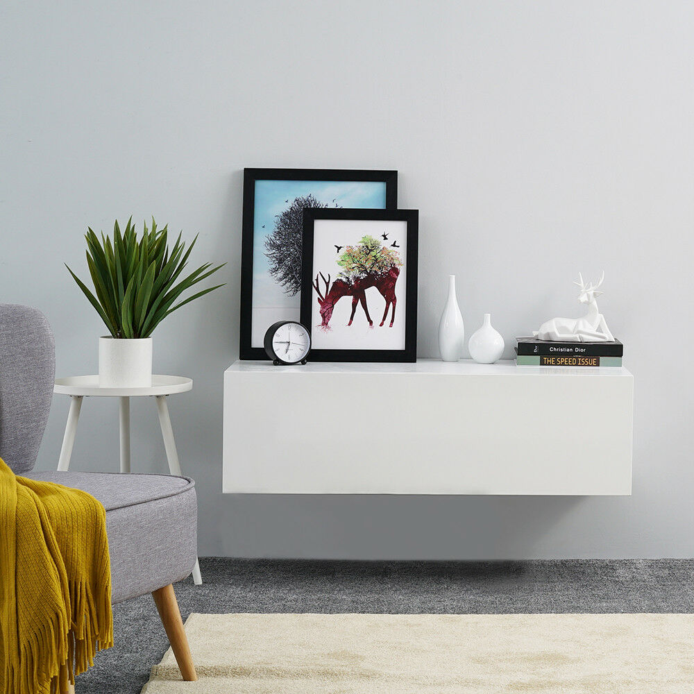 Details About High Gloss Front Tv Stand Entertainment Cabinet 100cm Floating Wall Unit White