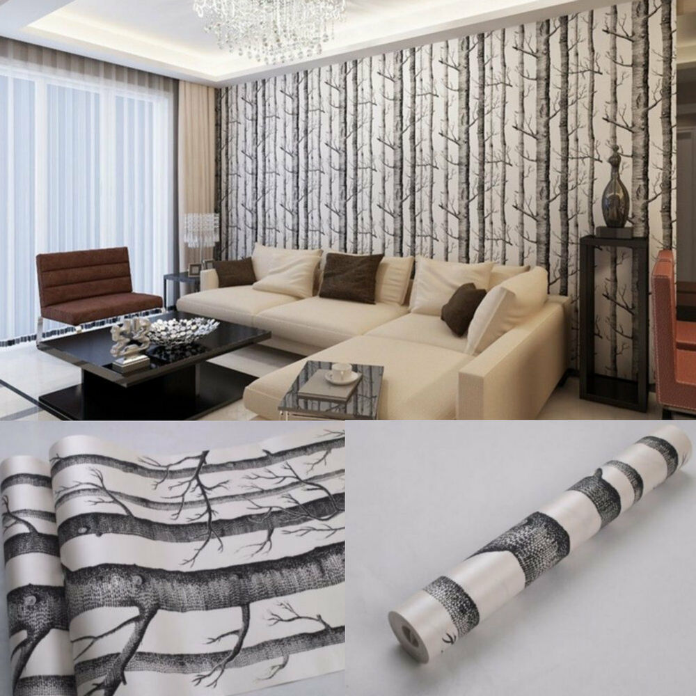 10m Rustic Modern Forest Birch Tree Wallpaper Roll Black White Woods
