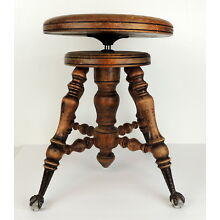 Vintage WOOD PIANO STOOL antique wooden organ swivel ball claw glass feet chair