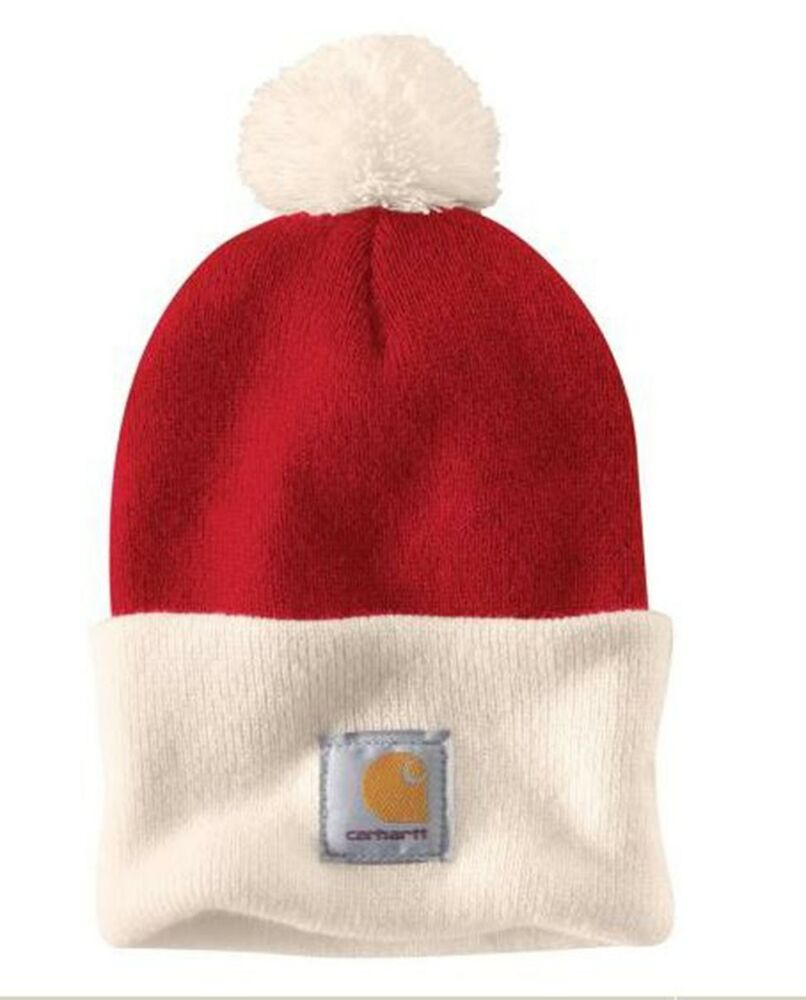 Details about Carhartt Lookout Hat - Red with Pom Pom Mens Winter Hat fbd6f819370