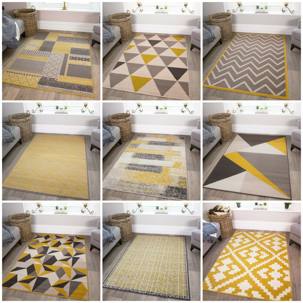Ochre yellow living room rugs gold mustard geometric - Gold rugs for living room ...