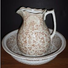 Large Staffordshire Brown Transfer Cashmere Aesthetic Movement Pitcher & Bowl