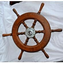 VINTAGE WOODEN SIX SPOKES SHIP BOAT YACHT STEERING WHEEL 24