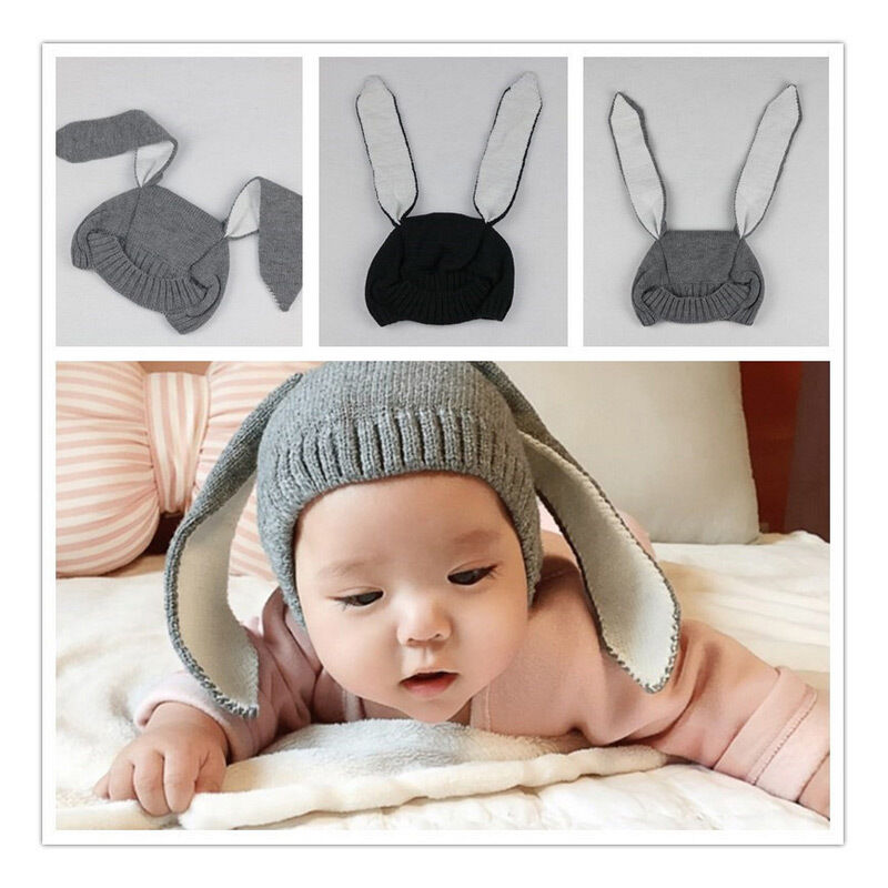 4eb8b6117ea Details about Toddler Infant Baby Rabbit Ears Knitted Cap Warm Winter Soft  Photogragh Hat
