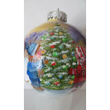 Hand Painted Glass Ball Ornament of two children decorating a Christmas Tree