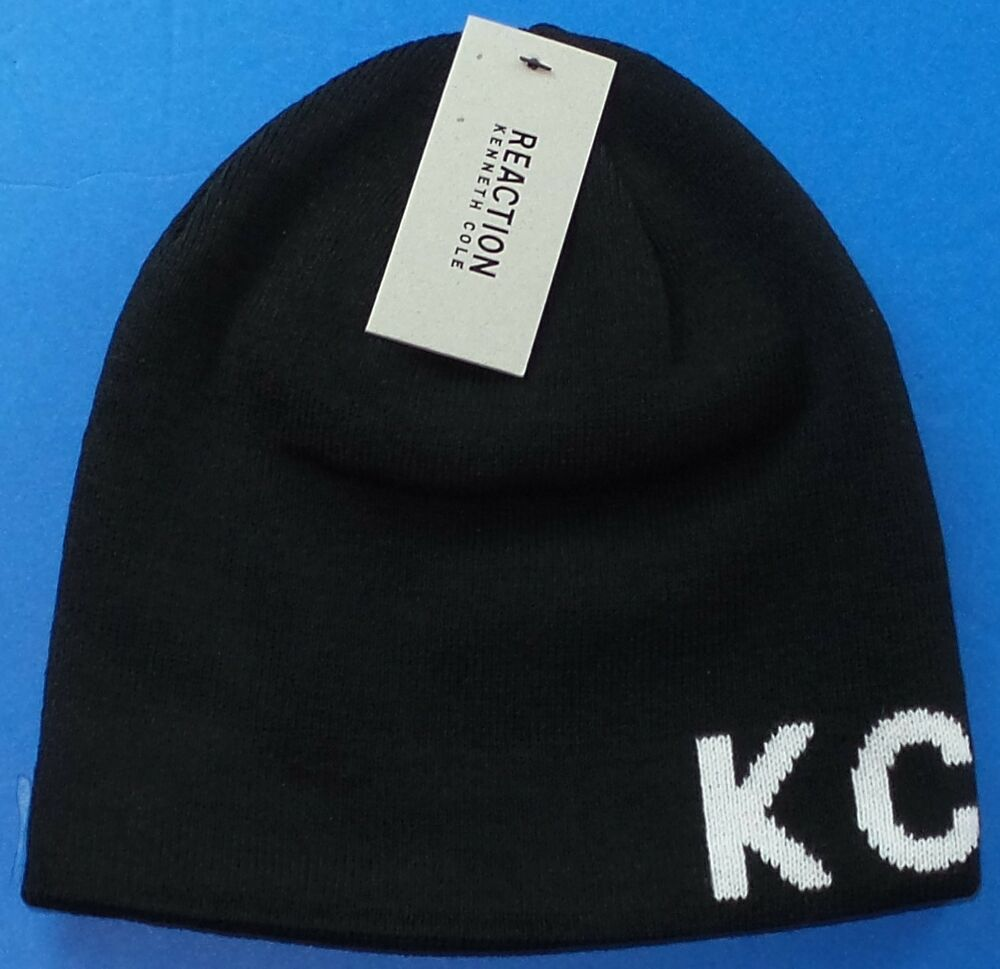 REACTION KENNETH COLE Beanie Hat KC Logo Black Reversible Winter New Tag  MSRP 38 888698891977  6eea1cd0c92