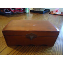 Vintage Wooden Hinged Top Box With Hasp 7 3/4