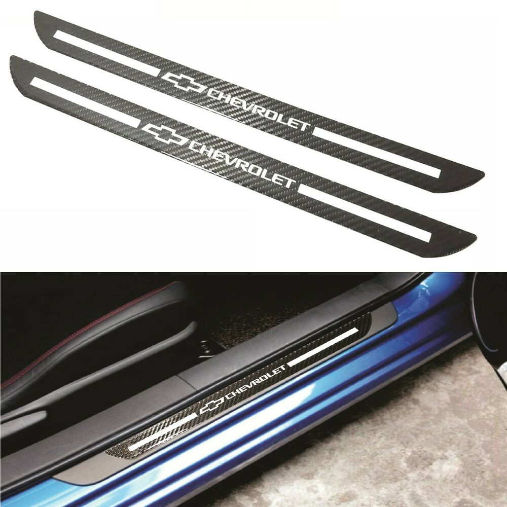 Details about 12x chevrolet carbon fiber car door welcome plate sill scuff cover decal sticker