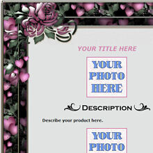 AUCTION TEMPLATE Pink Hearts Design Border - FREE Shipping