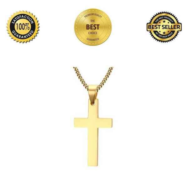 Cross Pendant Necklace Stainless Steel Design Chain Necklace Gold Color