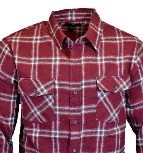 161297064819 Details about Mens Long Sleeve Flannel Shirt Button Up Down Burgundy Soft  Cotton Blend NEW